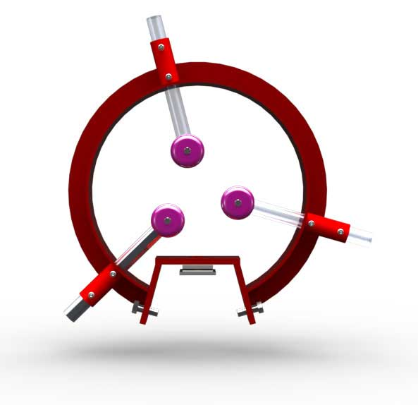 A red cplored Clark Steady Rest with 3 arms rotated to clear a laser thickness guide